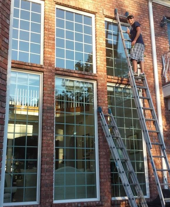 work site of window cleaning project