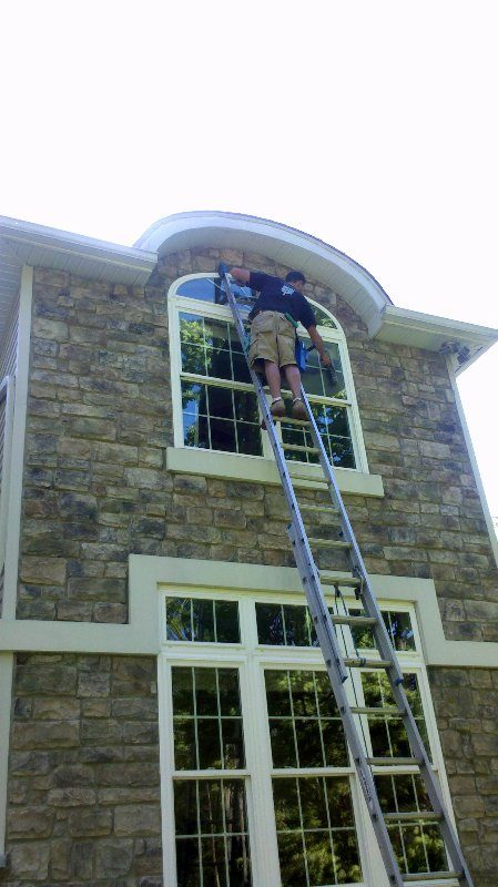 during picture of residential window cleaning